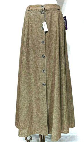 ALPHORN Original Tractenmode Size 44 Linen Blend Skirt Slits Buttons