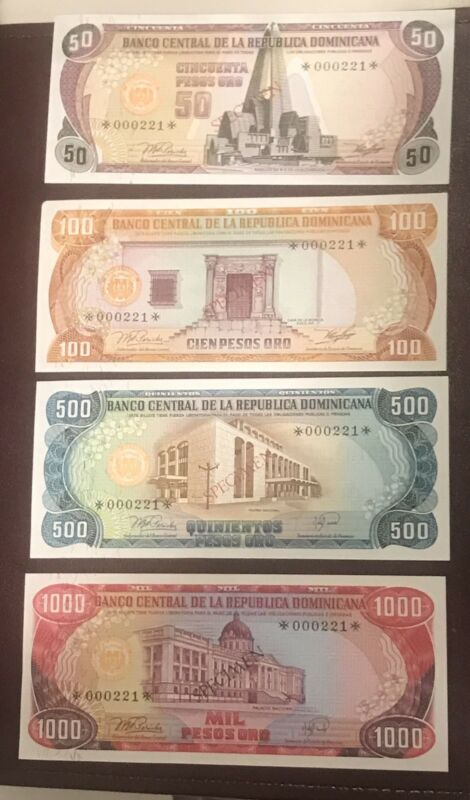 1979 BANCO CENTRAL REPUBLICA DOMINICANA SPECIMEN NOTES:1,5,10,20,50,100,500,1000