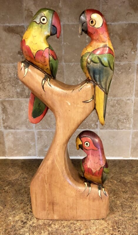 Vintage Hand Carved And Painted Wood Parrots Made In Ecuador
