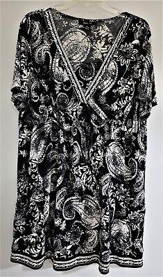 AUTH STYLE & CO PAISLEY PRINT SHORT SLEEVE KNIT DRESS NWOT BLACK & WHITE SZ XL
