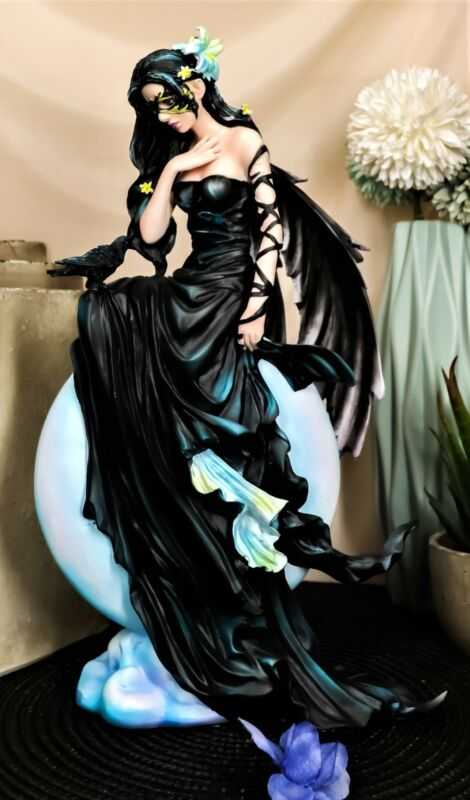 "Ebros Large Gothic Lunar Eclipse Raven Fairy Statue 11""H Nene Thomas Dark Skies"