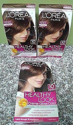 3 X  L'oreal Healthy Look Hair Dye Color # 6BB Light Beige Brown Iced Praline for sale  Philadelphia