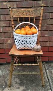 Vintage White Cane Bamboo Carry Basket Golden Grove Tea Tree Gully Area Preview