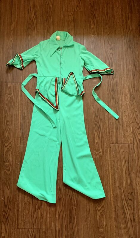 Groovy Vintage 60s 70s Neon Lime Green Wide Leg Fashion Mod Striped Sleeves XS