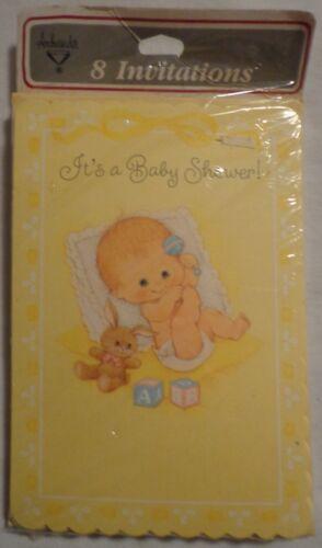 ITS A BABY SHOWER INVITATIONS VINTAGE HALLMARK AMBASSADOR 8 YELLOW BUNNY USA