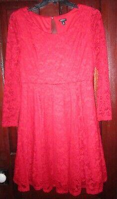 Torrid Size 0 L XL Stretch Lace Dress Fit Flare Red Floral Midi Steampunk