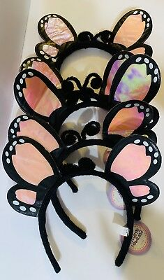 NEW! Lot of 5! Pink Butterfly Headband Dress-up, Party Goody Bags or Halloween ()
