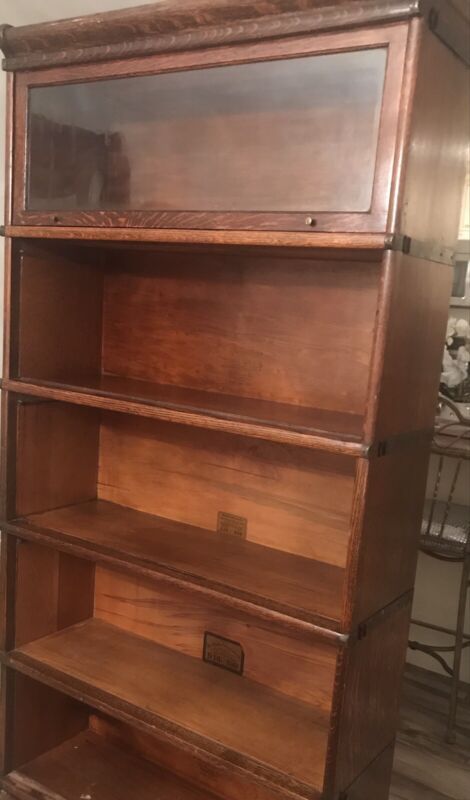 Antique Globe Wernicke 7 Stack Barrister Lawyer Bookcase,circa 1892 w/extra pcs