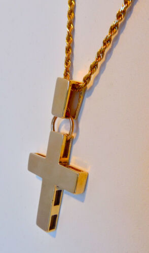 """HIGH QUALITY 14K Cross Pendant & 19"""" Chain Necklace for Man or Woman, 9.88 Grams"""