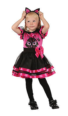 GIRLS TODDLER PINK WITCH KITTY CAT FANCY DRESS HALLOWEEN COSTUME OUTFIT AGE 2-3](Toddler Pink Witch Costume)