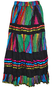 LADIES-LONG-HIPPY-BOHO-GYPSY-MAXI-TIERED-SKIRT-MULTI-COLOUR-6243-COTTON-8-14