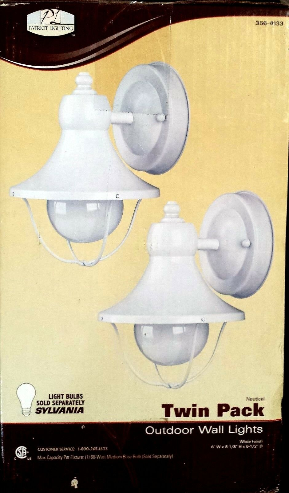 2 Nautical Outdoor Wall Lights Patriot Lighting - White Fini