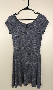 Women's Cotton On Ribbed Dress Size Medium Grey Color Short Sleeve