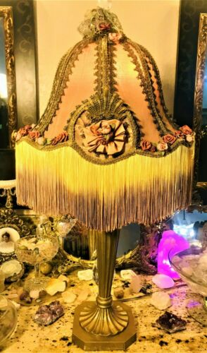 💗 Vintage Bohemian  Spirited OMBRE Fringe Flora Hand Craft Silk Wood Shade Lamp