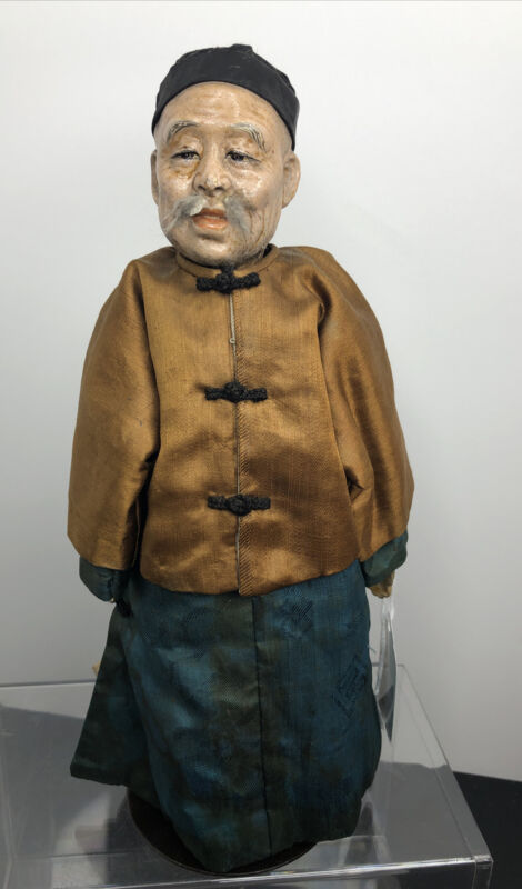 """9.5"""" Vintage Antique 1930's Chinese Man Doll Composition Cloth Detailed #SF"""