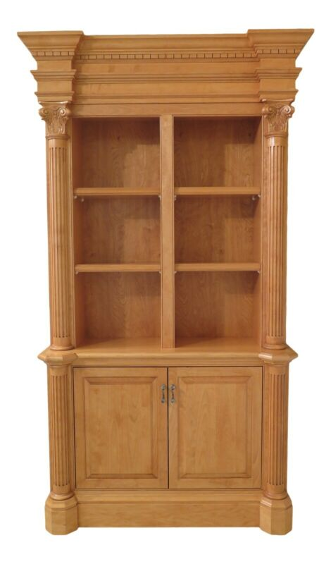 31493EC: Custom Made Maple Open Bookcase Wall Unit