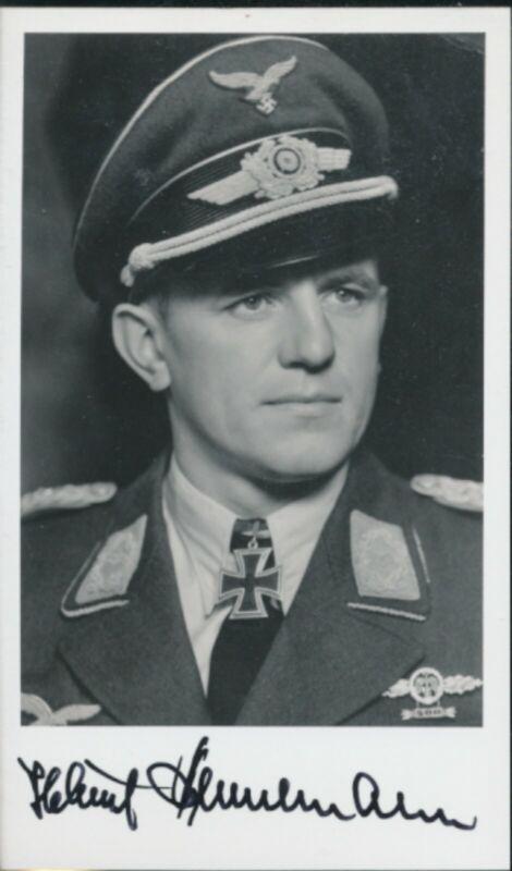 Helmut Bennemann signed photo. Luftwaffe Ace. JG-52. JG-53. 93 kills !!