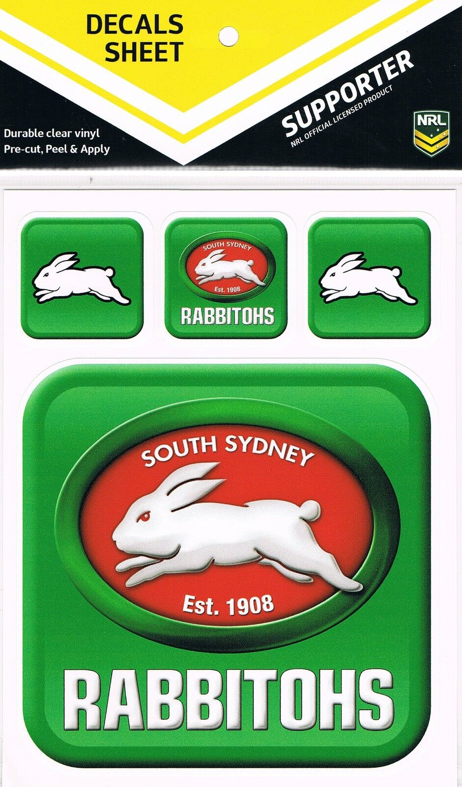nrl south sydney rabbitohs uv outdoor car tattoo sticker sheet decal itag ebay. Black Bedroom Furniture Sets. Home Design Ideas