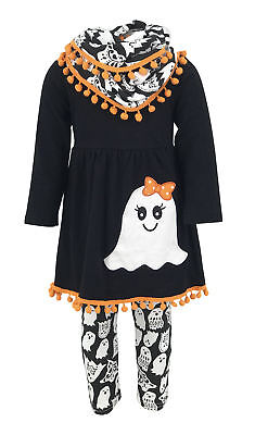 Infinity Halloween (Girls Ghost Halloween Outfit Infinity Scarf Boutique Toddler Kids Clothes 2t)