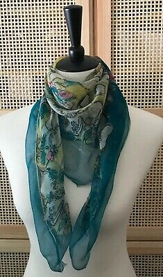 Vintage Scarf Styles -1920s to 1960s Vintage Sheer Silk Scarf 33x33 Square Artsy Chagall-like Floral Green Multi $12.00 AT vintagedancer.com