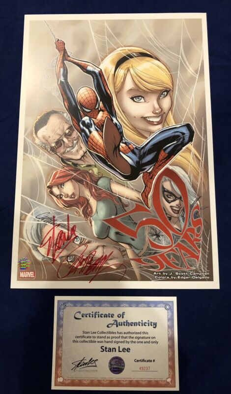 Amazing Spider-Man 50th Anniversary Litho Signed by Stan Lee with COA & Campbell
