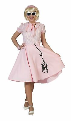 Pudel-Kleid-Rosa, UK 12-14, Rockerbilly 50er Kostüme #DE ()