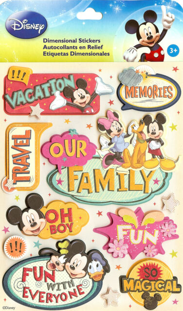 Disney Mickey & Friends Vacation Travel 3D Stickers EK Success New