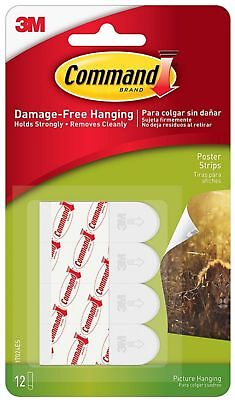 Command Poster Hanging Strips, White 12 ea