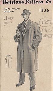 1940s WW2 Vintage Sewing Pattern MEN'S RAGLAN OVERCOAT C38