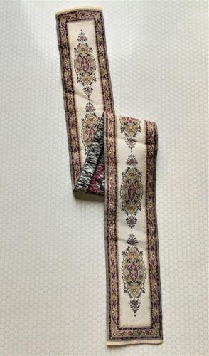 "Dollhouse Miniature Beige & Maroon Stair Runner Rug Carpet 1:12 Scale 19"" x 2"""