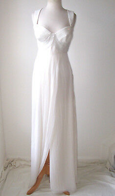 VERSACE Ivory Silk Chiffon Sequin Embellished Dress Gown 40 4