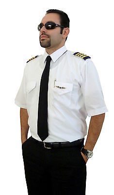 Aviator-Airline-Commander-Uniform-Pilot Shirt-Short Sleeves-Egyptian Cott.-iZULU