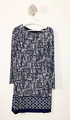 ladies Jessica Howard A Line Dress 3/4 Sleeves Navy White Mix Size 16 Career