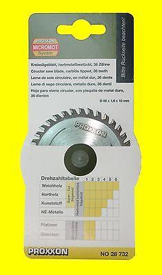 PROXXON 28732 Sägeblatt Hartmetall 36 Zähne 80mm  FKS 28070 FET 27070 KGS 27160