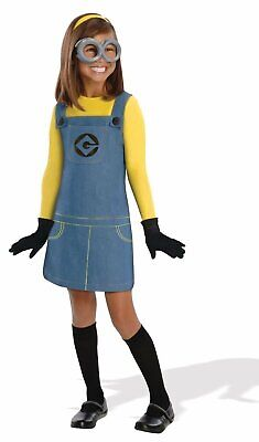 Girls Minion Costume -  overall style dress with attached shirt, gloves, and ... - Halloween Costumes With Overalls
