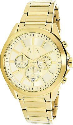 Armani Exchange Men's Drexler AX2602 Gold Stainless-Steel Plated Quartz Fashi...
