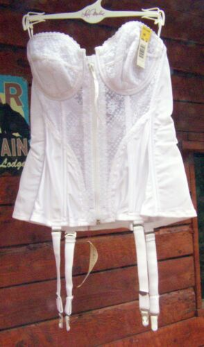 36C NWT VINTAGE LADY MARLENE White CORSET GARTERS NEW OLD STOCK