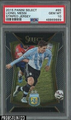 2015 Panini Select Soccer Striped Jersey #65 Lionel Messi Argentina PSA 10  image