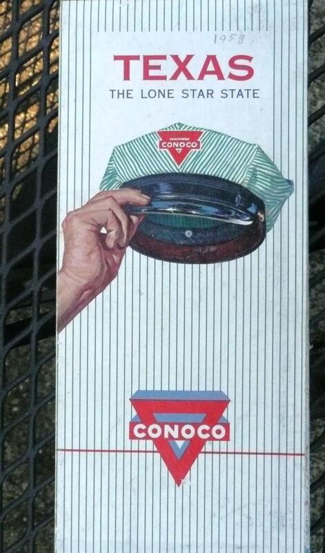 1959 Texas road map Conoco gas oil Lone Star State