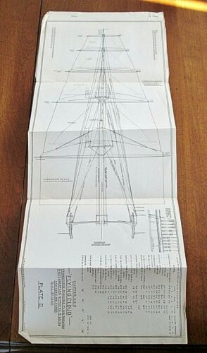 Vintage Clipper Ship Flying Cloud 1851 Transverse Rigging Plans From Original