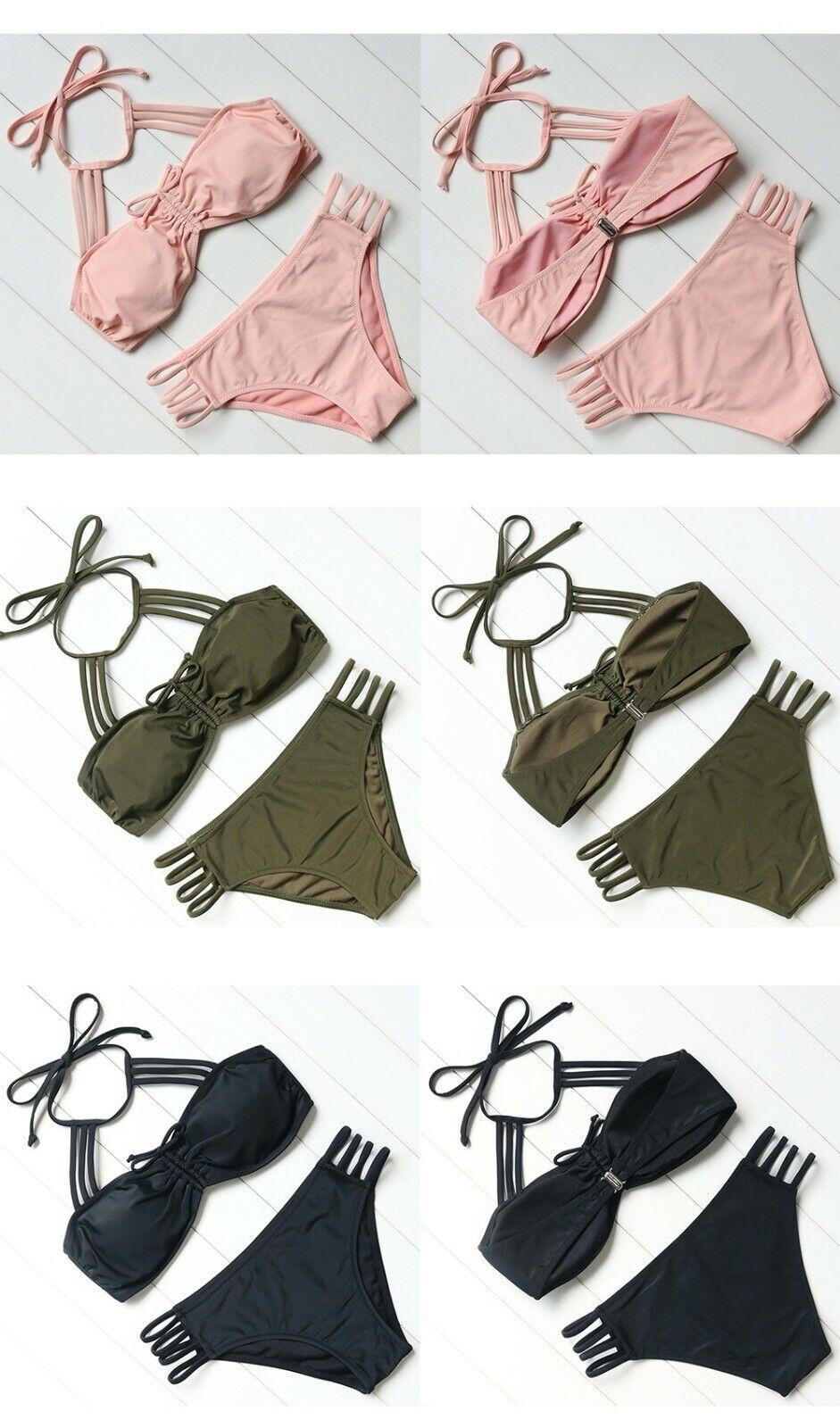 OMKAGI Bikinis Frauen Bademode Frauen Badeanzug Solide Multi-strap Bikini Set