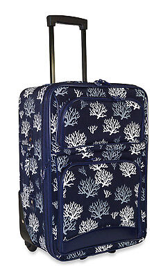 Blue Small Rolling Luggage (Nautical Coral Carry On Luggage Suitcase Travel Small Rolling Wheeled Expandable )
