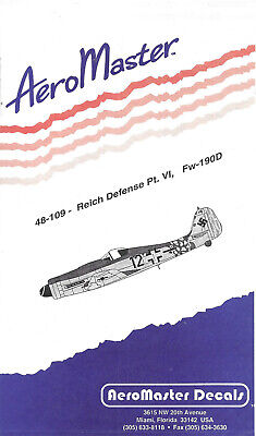 Aeromaster 48-109 Reich Defense Pt.VI Fw-190D Decal Sheet