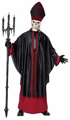 Black Mass Gothic Demon Skull Holy Pope Religious Adult Costume - Male Devil Costumes