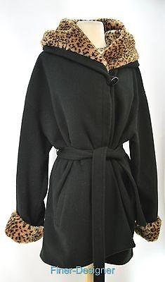 Mario de Pinto MDP Wool blend Coat Hooded jungle faux fur warm jacket L XL VTG
