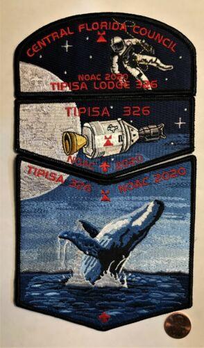 TIPISA OA LODGE 326 BSA CENTRAL FLORIDA FLAP NASA APOLLO WHALE 2020 NOAC 3-PATCH