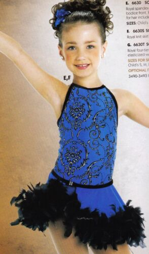 New Dance Tap costume Royal blue Leotard w/ black feather trim Girls Smll Child
