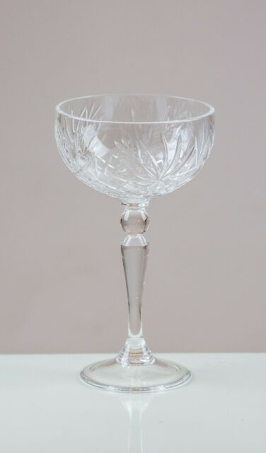 Peacelily 6 Champagne Coupe/ Saucers 24% LEAD CRYSTAL 100% HANDMADE