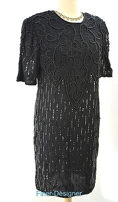 Mona Fashion knee dress Beaded Sequence S/S silk Dress sexy sheath SZ 12 VTG 80s