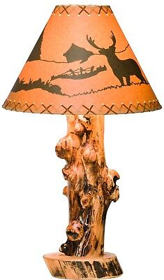 Rustic Aspen Log Table Lamp - Amish made in USA Aspen Rustic Table Lamp